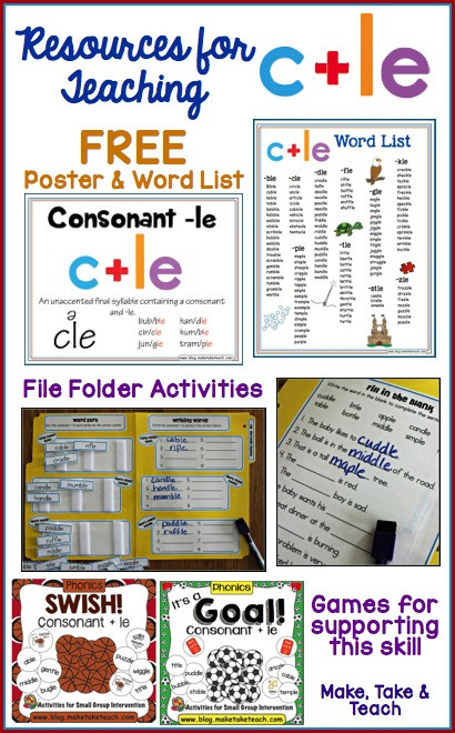 Schwa sound Worksheets Grade 2 Teaching the Consonant Le Syllable Type Make Take & Teach