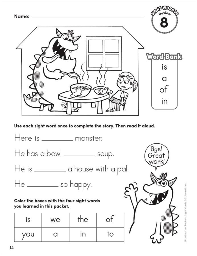 Science Worksheet First Grade Little Learner Packets Sight Words Playful First Grade Flash