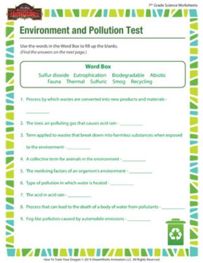 Science Worksheets 7th Grade Environment and Pollution 7th Grade Science Worksheet