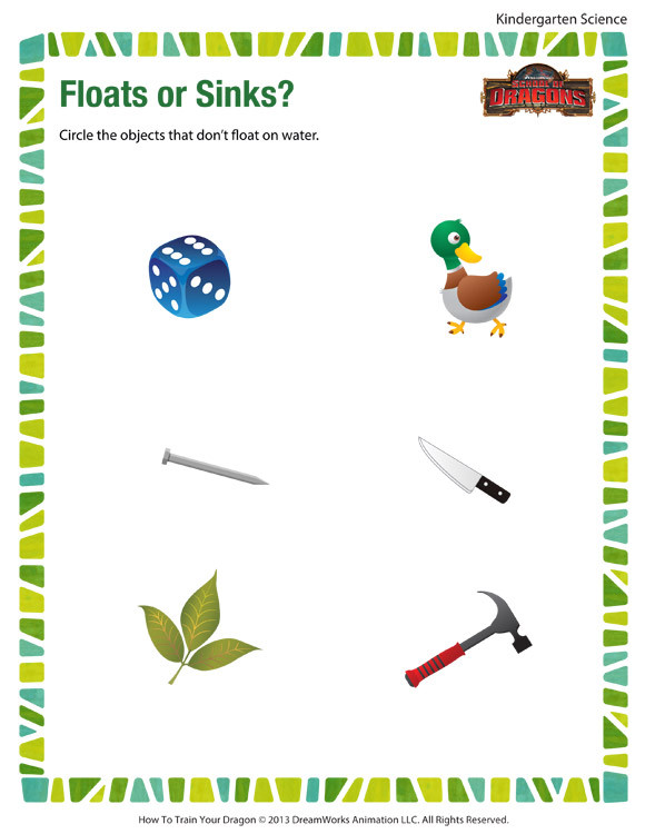 Science Worksheets for Kindergarten Free Floats or Sinks Worksheet – Free Kindergarten Science Printables