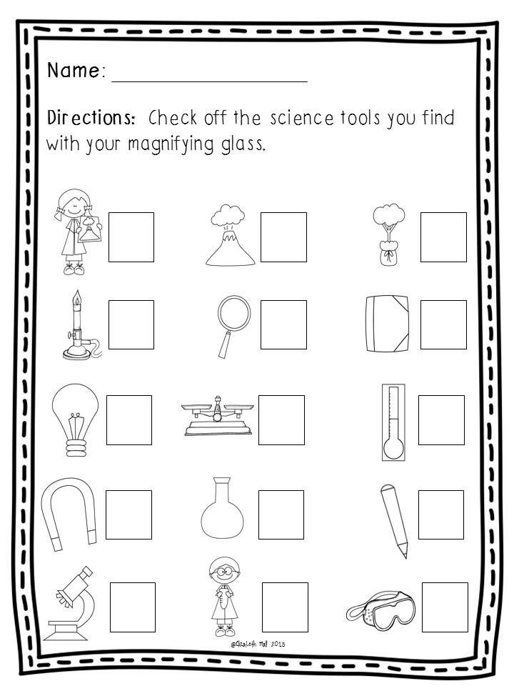 Science Worksheets for Kindergarten Free Science tools Freebie