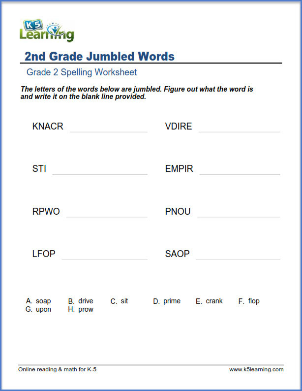 Scrambled Sentences Worksheets 2nd Grade Second Grade Spelling Worksheets