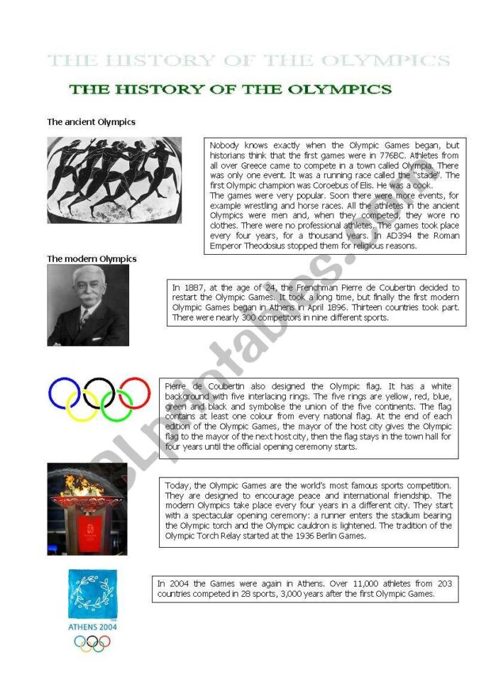 Second Grade History Worksheets the History Olympics Reading Prehension Esl Worksheets