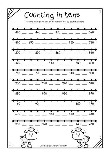 Second Grade Number Line Worksheets Numbers to 1000 In Skip Counting In Ones Fives Tens and