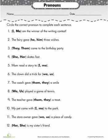 Second Grade Pronouns Worksheet 2nd Grade Pronoun Worksheets