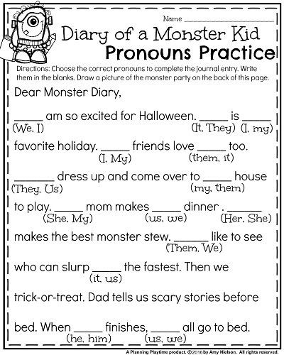 Second Grade Pronouns Worksheet October First Grade Worksheets