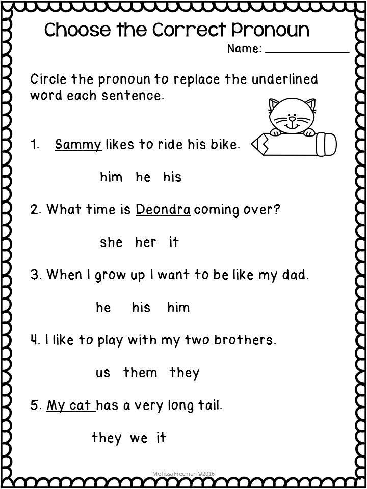Second Grade Pronouns Worksheet Pronouns Worksheets