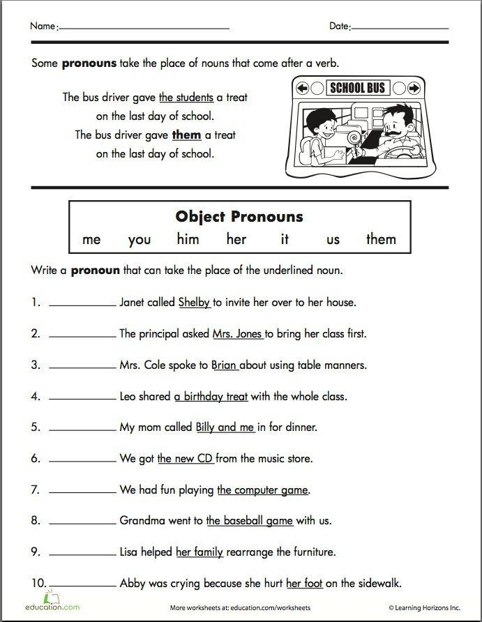 Second Grade Pronouns Worksheet Second Grade Pronoun Worksheets