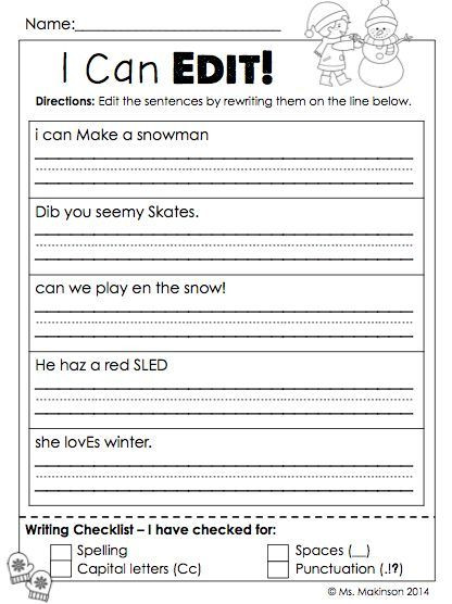Sentence Worksheets First Grade January Printables First Grade Literacy and Math
