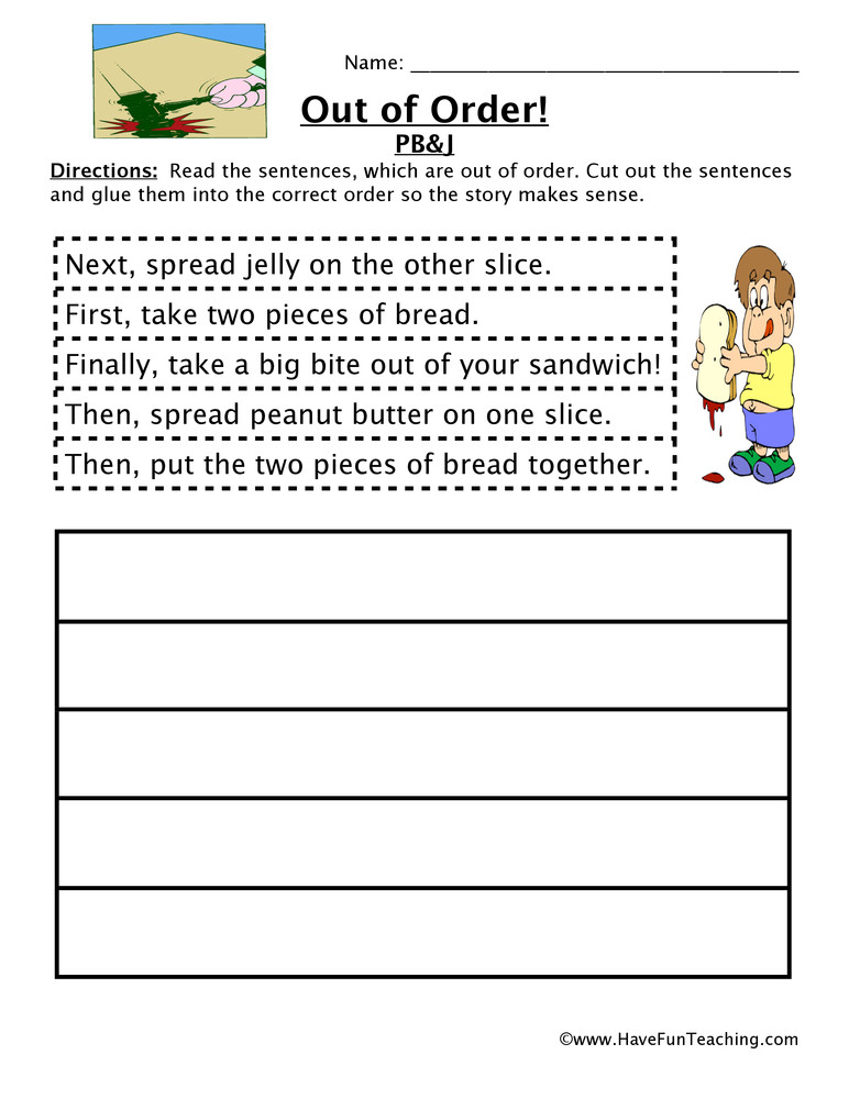 Sequence Worksheets 4th Grade Making A Sandwich Sequencing Worksheet