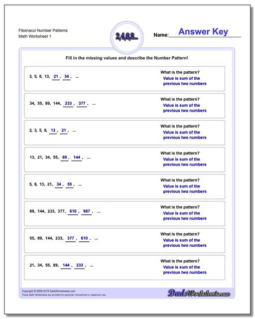 Sequence Worksheets 4th Grade Number Patterns