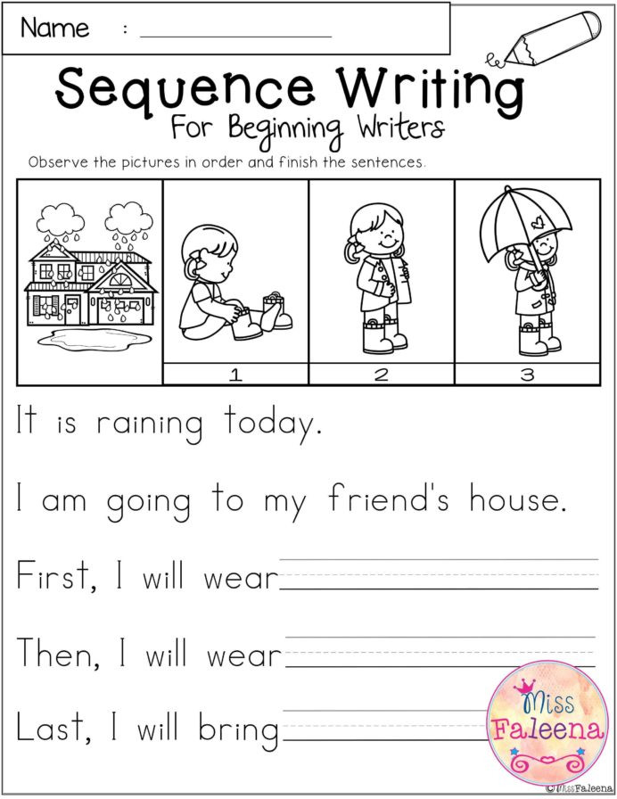 Sequencing Worksheet Kindergarten Free Sequence Writing for Beginning Writers with