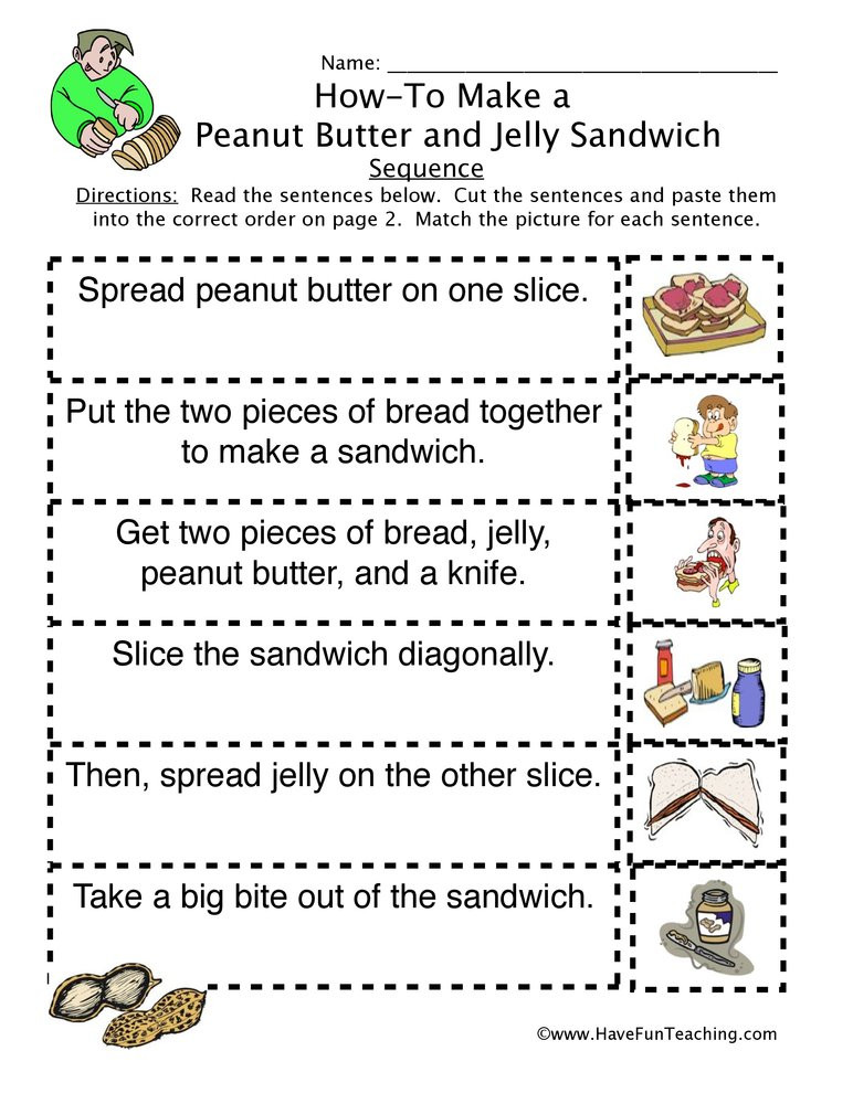 Sequencing Worksheets 4th Grade How to Peanut butter Jelly Sandwich Sequence Worksheet