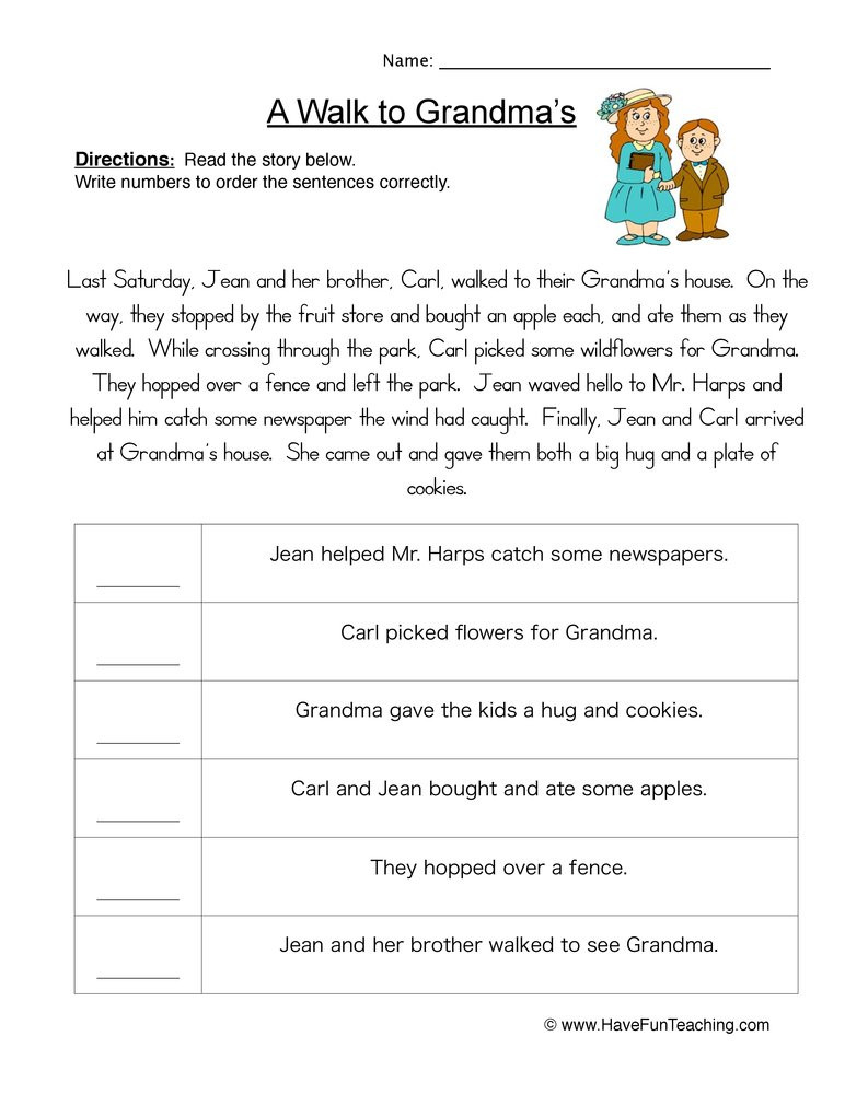 Sequencing Worksheets 4th Grade Story events order Of events Worksheet