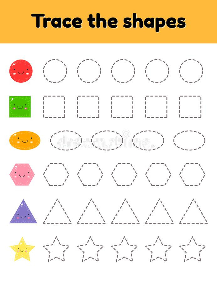 Shapes Worksheet for Kindergarten Educational Tracing Worksheet for Kids Kindergarten
