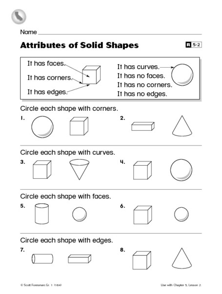 Shapes Worksheets 1st Grade attributes Of solid Shapes First Grade Reteaching Worksheet