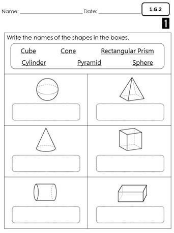 Shapes Worksheets 1st Grade First Grade Mon Core Math assessments
