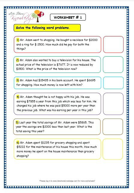 Shopping Math Worksheet Worksheet 45 Extraordinary Grade 3 Math Addition and