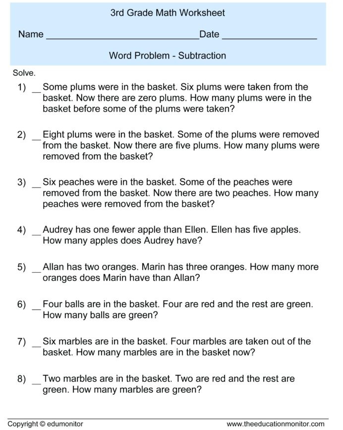 Shopping Math Worksheets 3rd Grade Math Worksheets for Grade 3 Addition and Subtraction
