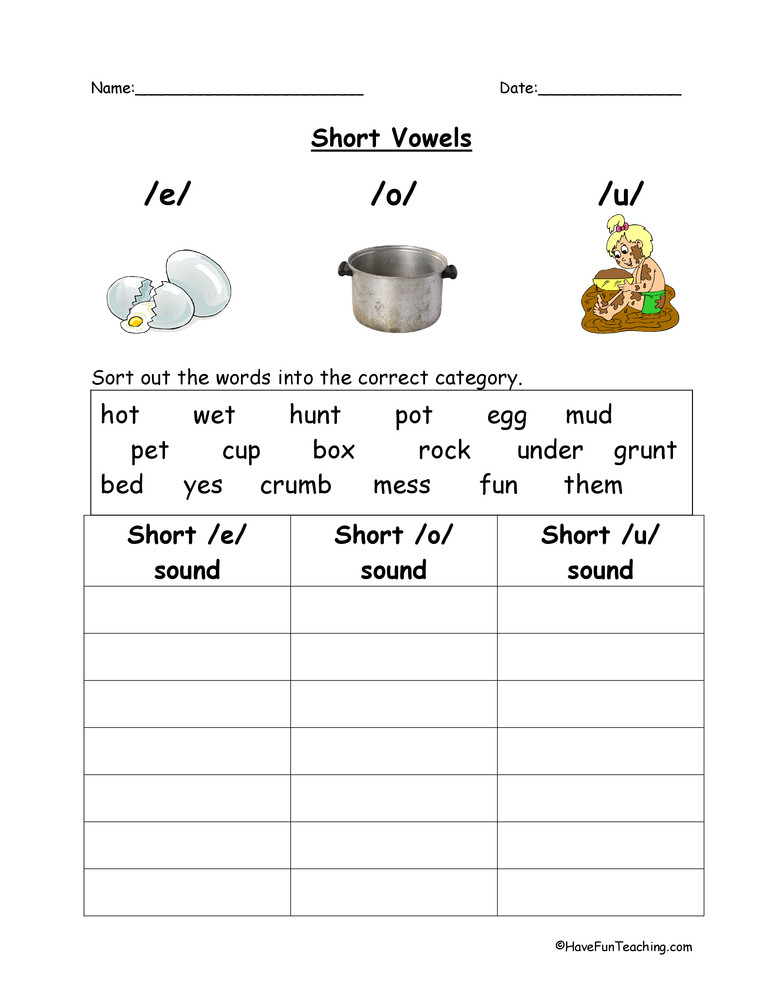 Short Vowel Worksheet Kindergarten E O U Short Vowels Worksheet