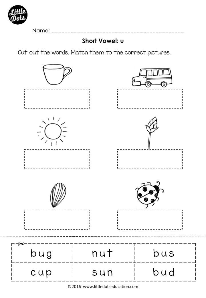Short Vowel Worksheet Kindergarten Free Short Vowel U Worksheet for Preschool or Kindergarten