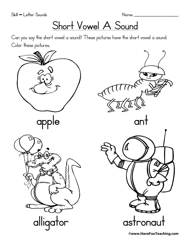 Short Vowel Worksheet Kindergarten Short Vowel A Worksheet