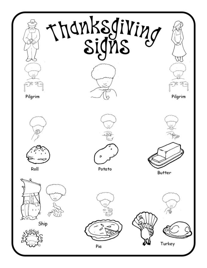 Sign Language Printable Worksheets Thanksgiving Sign Language Words asl Practice Worksheets