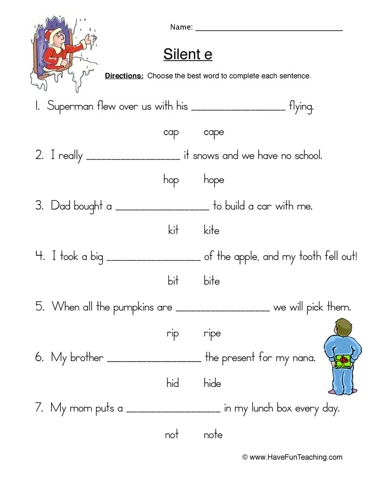Silent Letters Worksheets Circling Cvc E Words Worksheet