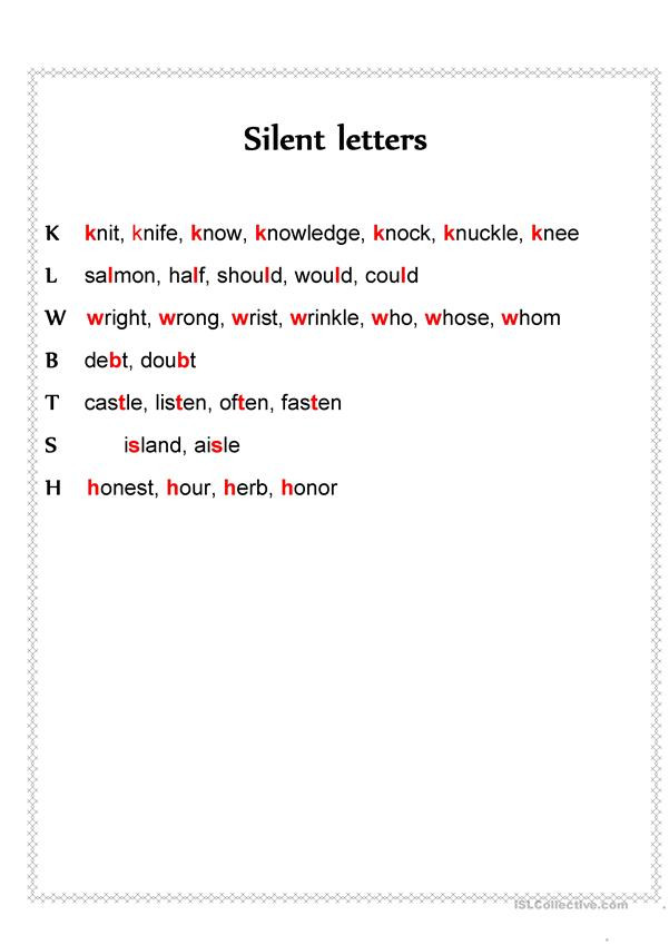 Silent Letters Worksheets Silent Letters English Esl Worksheets for Distance