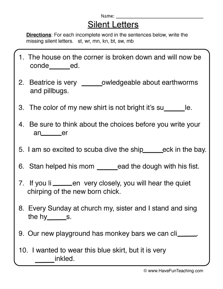 Silent Letters Worksheets Silent Letters Worksheet