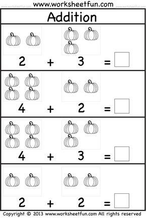 Simple Addition Worksheets for Kindergarten Kids Practice Adding Single Digit Numbers and Writing the