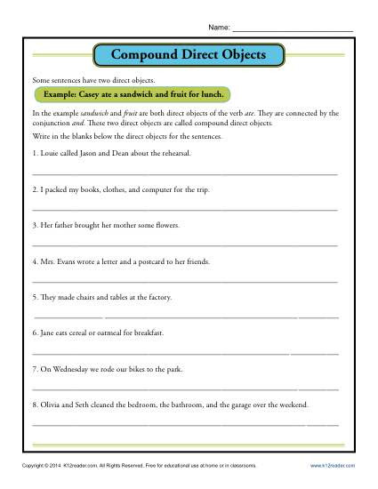Simple Sentences Worksheet 3rd Grade Pound Direct Object Worksheet
