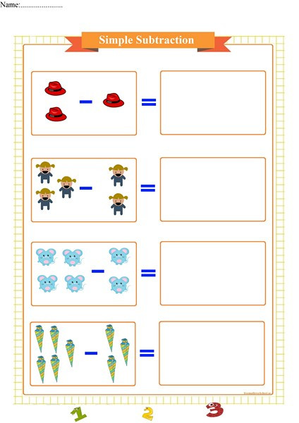 Simple Subtraction Worksheets for Kindergarten Starting to Subtract Free Math Worksheets