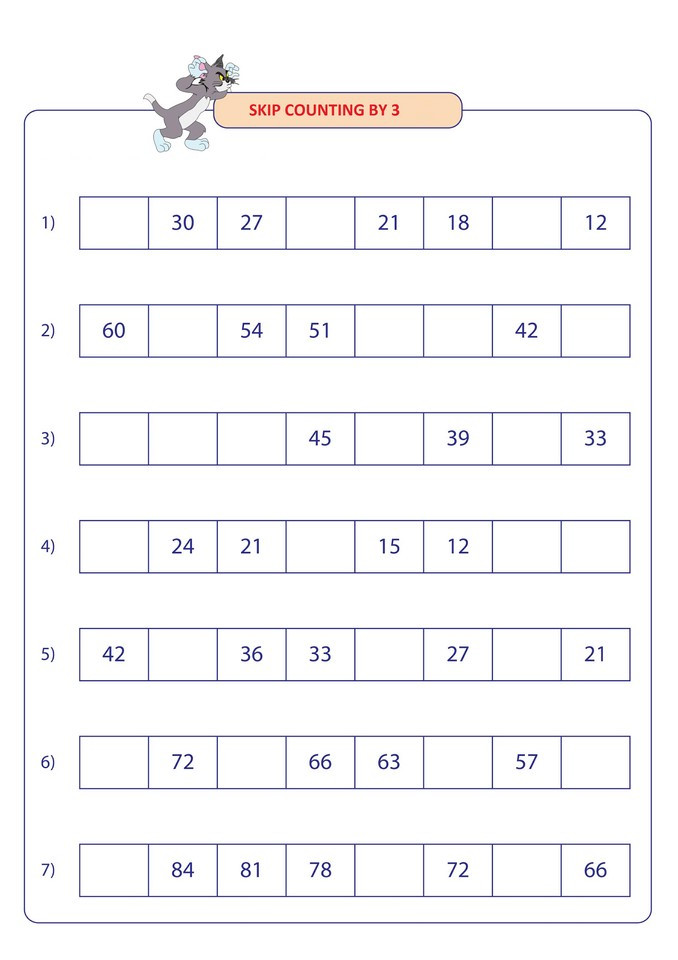 Skip Counting Worksheets 2nd Grade Skip Counting by 3 for 2nd Grade 1 Free Math Worksheets