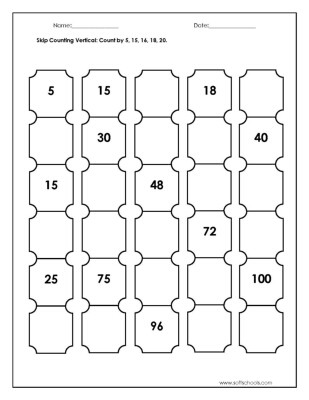 Skip Counting Worksheets 3rd Grade Skip Counting Vertical Count by 5 15 16 18 20 Worksheet