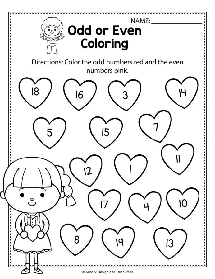 Skip Counting Worksheets First Grade Valentine Odd even Coloring Math Worksheets and Skip