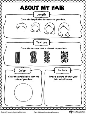 Social Skills Worksheets for Kindergarten About My Hair