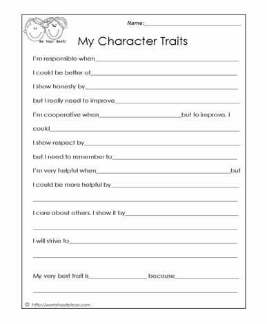 Social Skills Worksheets for Kindergarten My Character Traits social Skills Worksheets