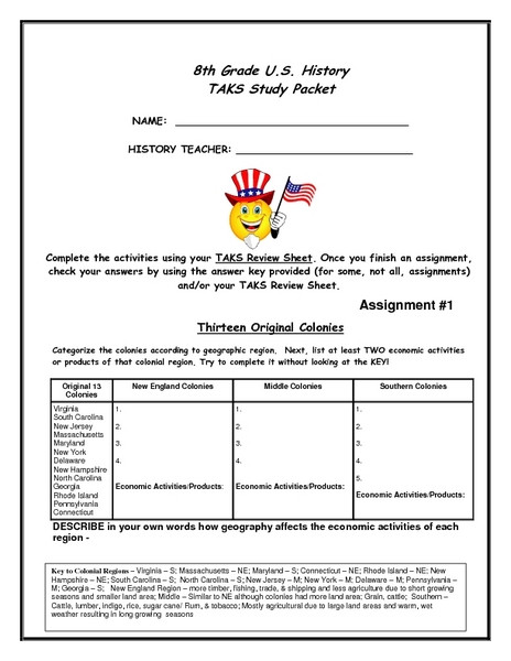 Social Studies Worksheets 8th Grade 8th Grade U S History Task Study Packet Worksheet for 8th