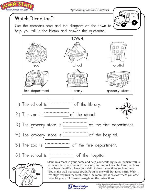 Social Studies Worksheets for Kindergarten which Direction Printable Worksheet for Kids