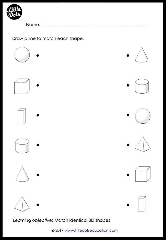 Solid Shapes Worksheets for Kindergarten Preschool Shapes Matching Worksheets and Activities
