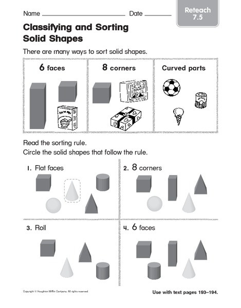 Sorting Shapes Worksheets First Grade Classifying and sorting solids Shapes 3 Worksheet for 1st