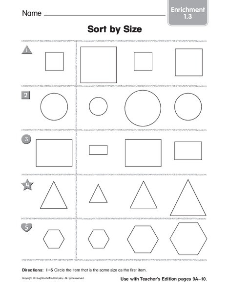 Sorting Shapes Worksheets First Grade sort by Size Worksheet for Pre K 1st Grade