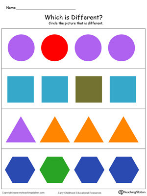 Sorting Shapes Worksheets for Kindergarten Identify which Shape is Different In Color
