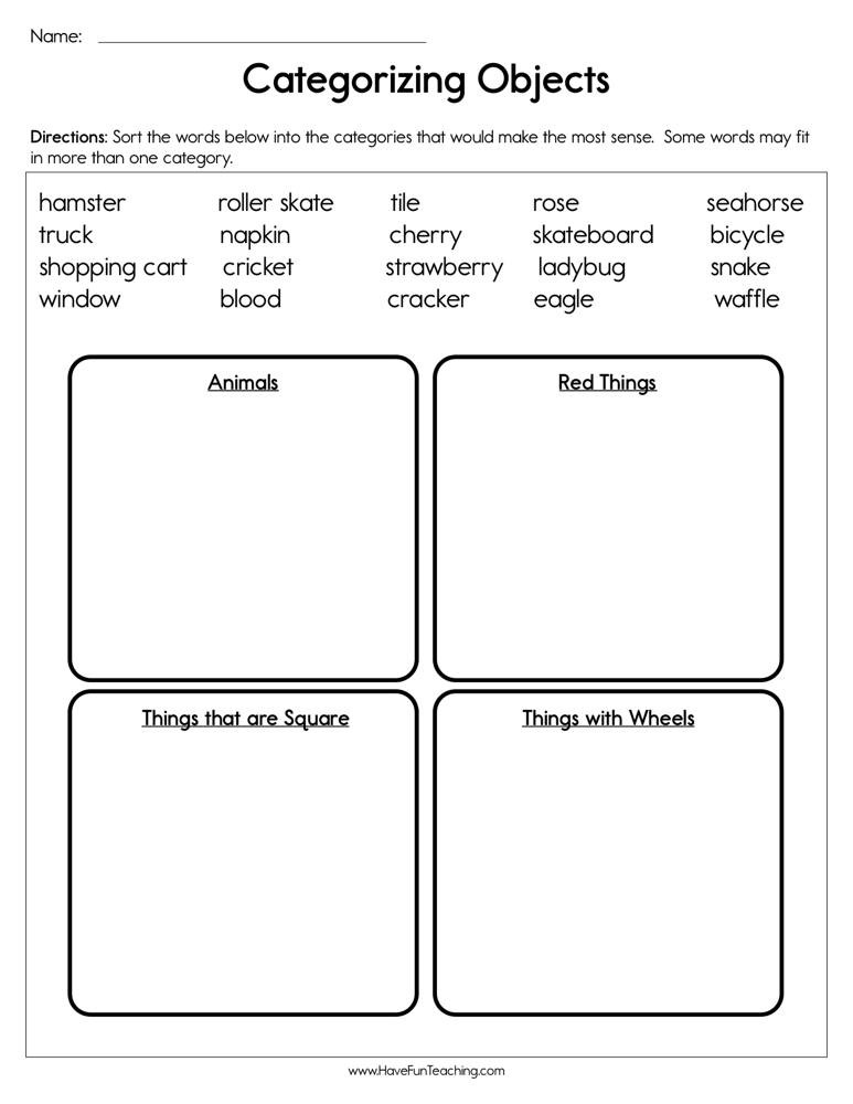 Sorting Worksheets for First Grade Categorizing Objects Worksheet
