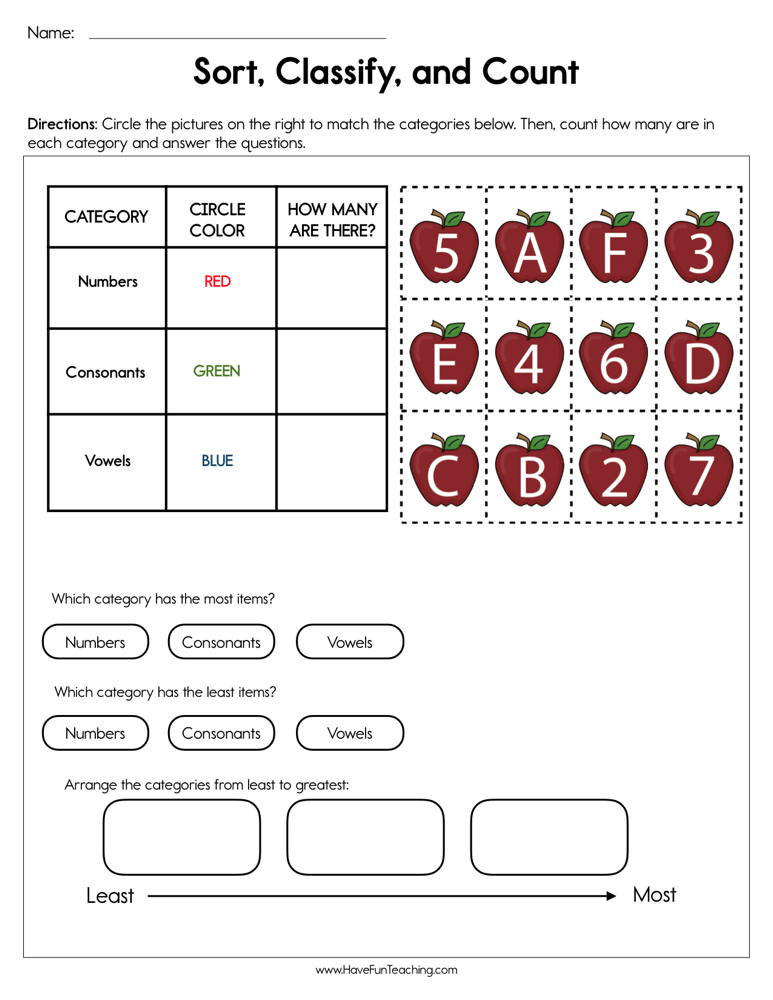 Sorting Worksheets for First Grade sort Classify and Count Worksheet