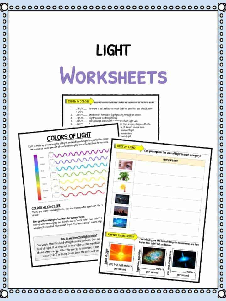 Sound Energy Worksheets 4th Grade Light Facts & Worksheets for Kids