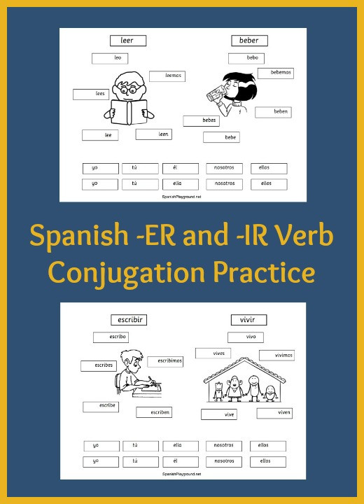Spanish Verb Conjugation Worksheets Printable Spanish Verb Practice for Kids Cut and Paste Pages