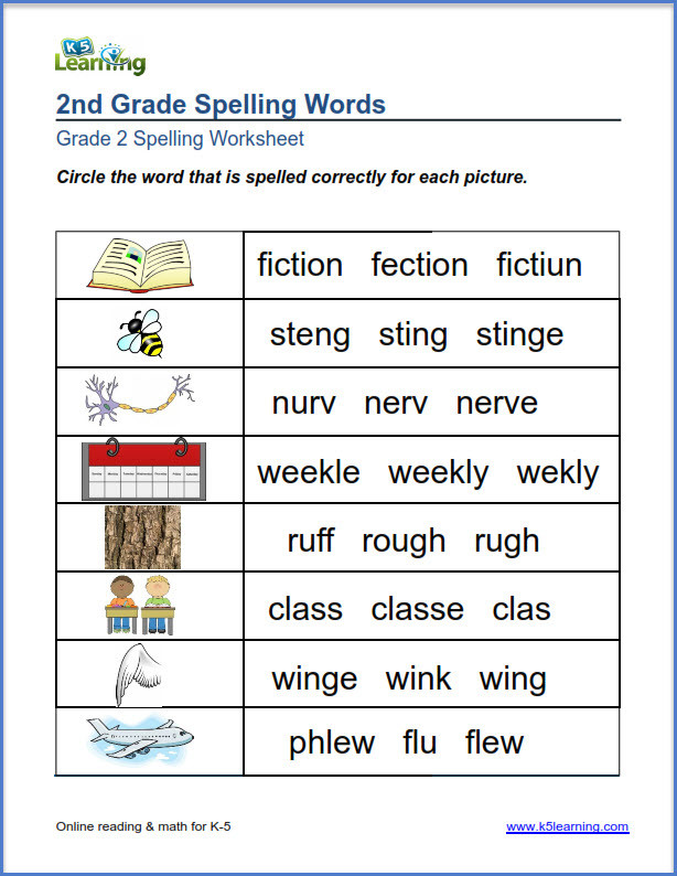 grade 2 correct spelling word 1
