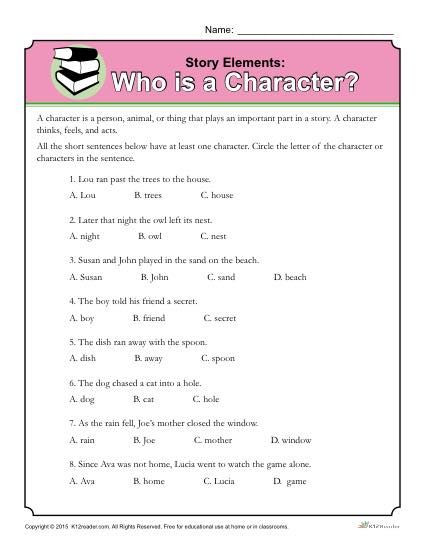 Story Elements Worksheet 5th Grade who is A Character